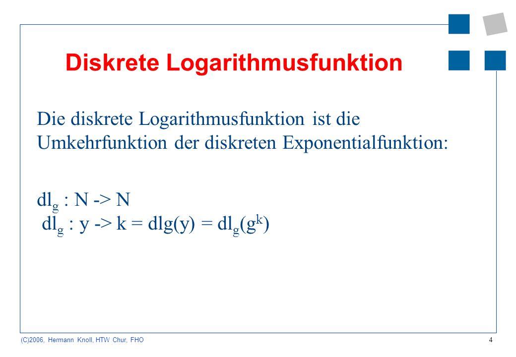 4 (C)2006, Hermann Knoll, HTW Chur, FHO Diskrete Logarithmusfunktion Die diskrete Logarithmusfunktion ist die Umkehrfunktion der diskreten Exponential
