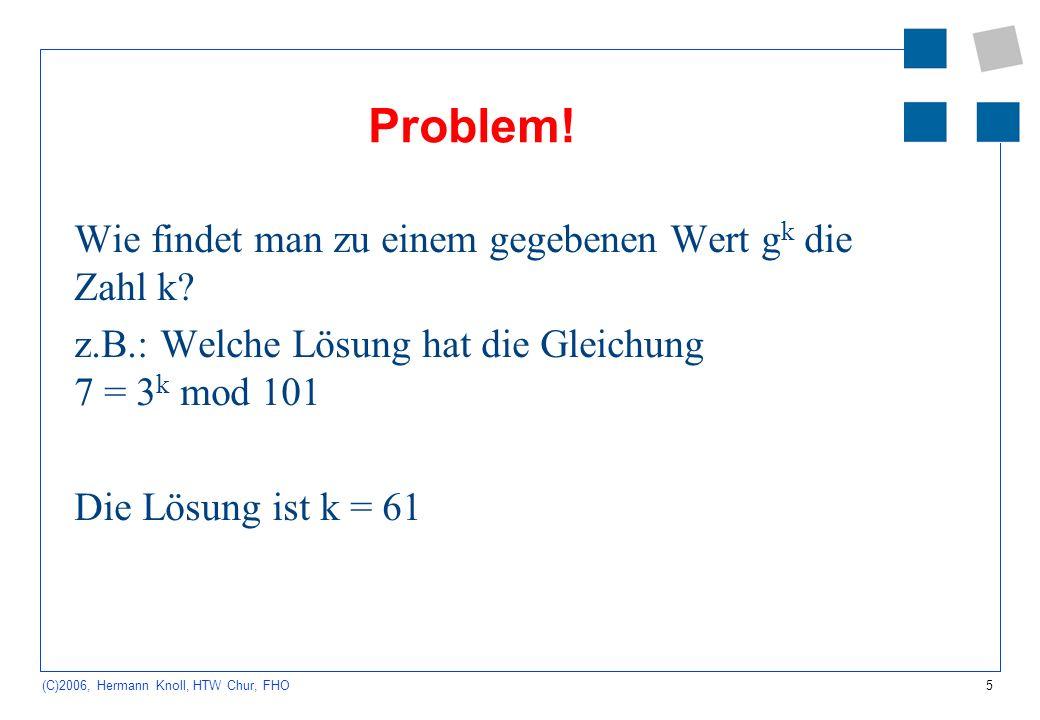 5 (C)2006, Hermann Knoll, HTW Chur, FHO Problem! Wie findet man zu einem gegebenen Wert g k die Zahl k? z.B.: Welche Lösung hat die Gleichung 7 = 3 k