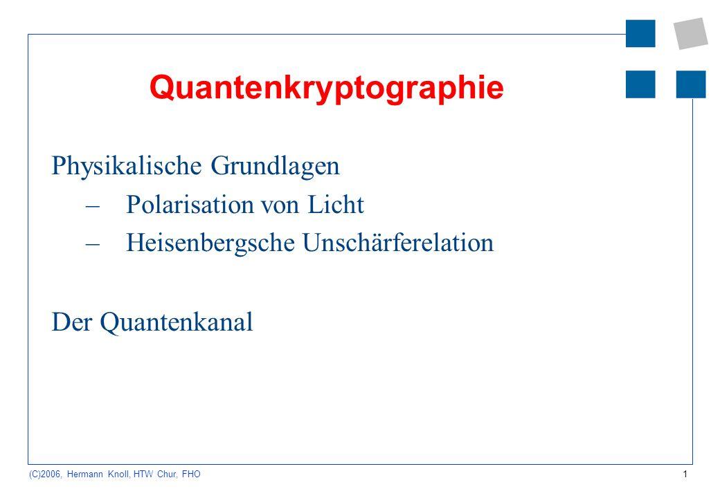 1 (C)2006, Hermann Knoll, HTW Chur, FHO Quantenkryptographie Physikalische Grundlagen –Polarisation von Licht –Heisenbergsche Unschärferelation Der Qu