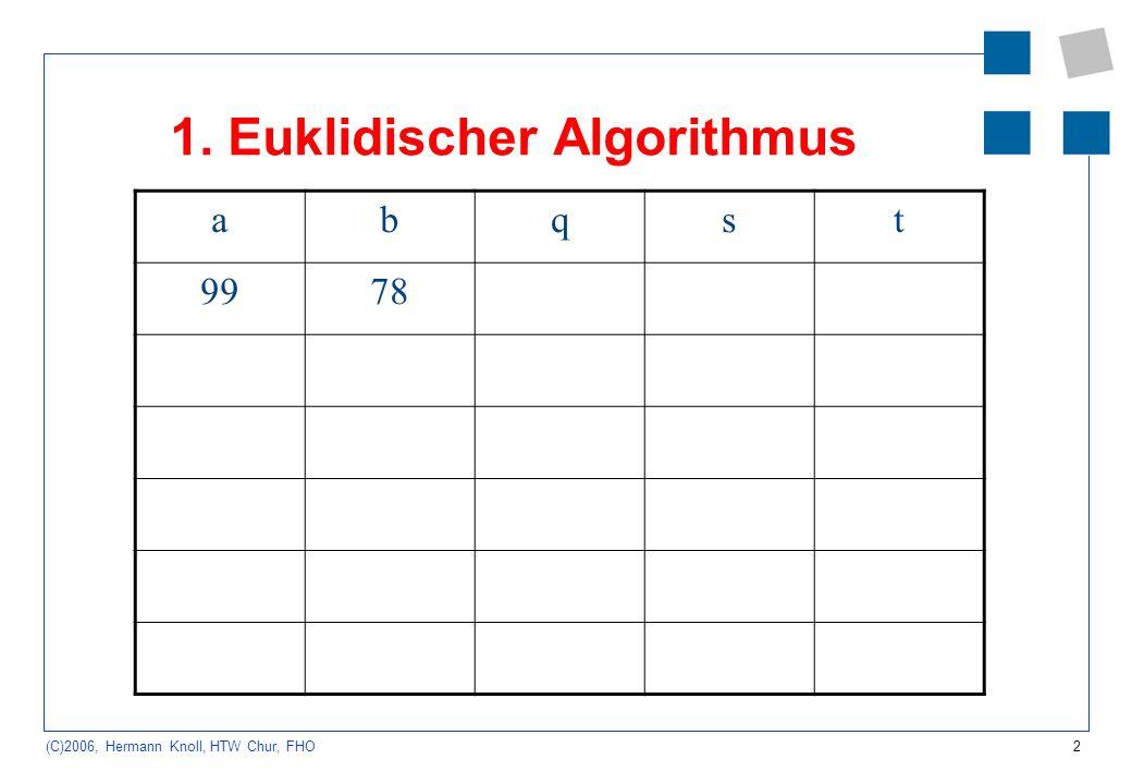 2 (C)2006, Hermann Knoll, HTW Chur, FHO 1. Euklidischer Algorithmus abqst 9978