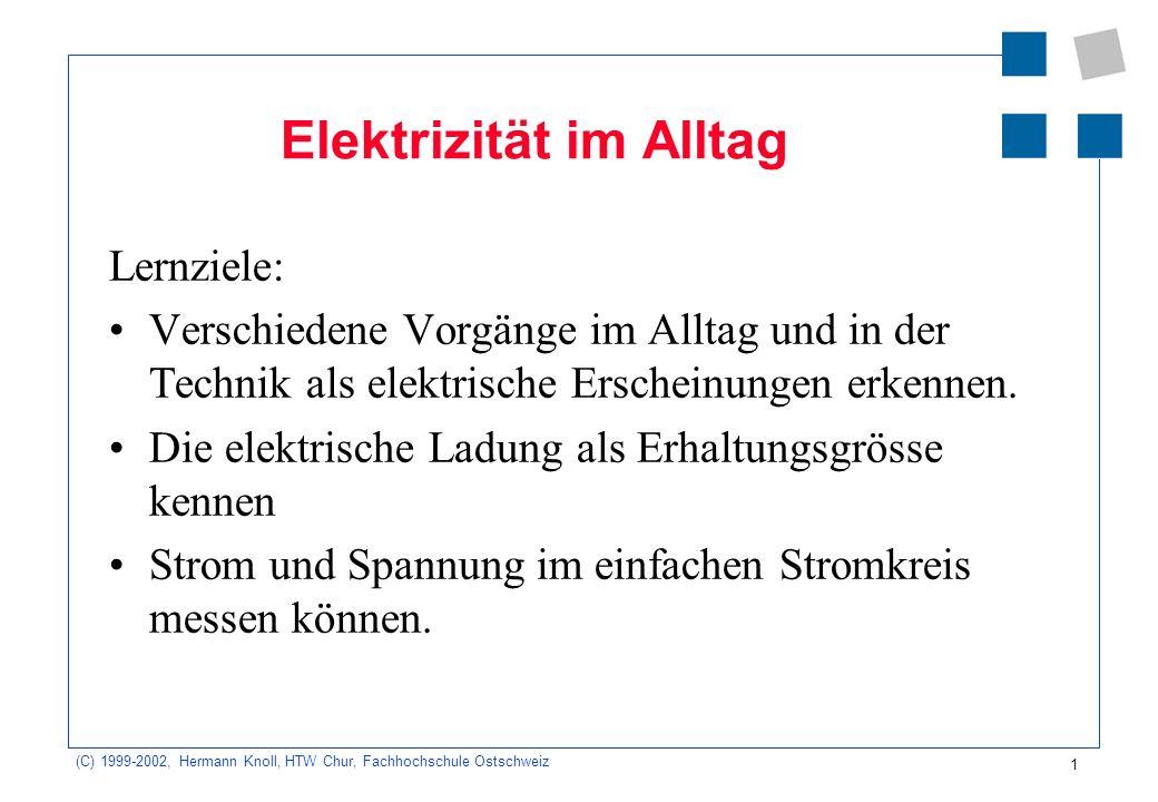 (C) 1999-2002, Hermann Knoll, HTW Chur, Fachhochschule Ostschweiz 1 Elektrizität im Alltag Lernziele: Verschiedene Vorgänge im Alltag und in der Techn