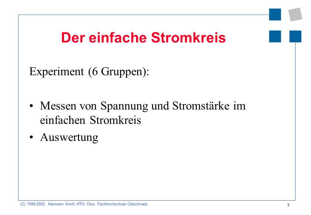 (C) 1999-2002, Hermann Knoll, HTW Chur, Fachhochschule Ostschweiz 5 Der einfache Stromkreis Experiment (6 Gruppen): Messen von Spannung und Stromstärk
