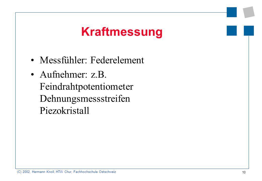 10 (C) 2002, Hermann Knoll, HTW Chur, Fachhochschule Ostschweiz Kraftmessung Messfühler: Federelement Aufnehmer: z.B. Feindrahtpotentiometer Dehnungsm