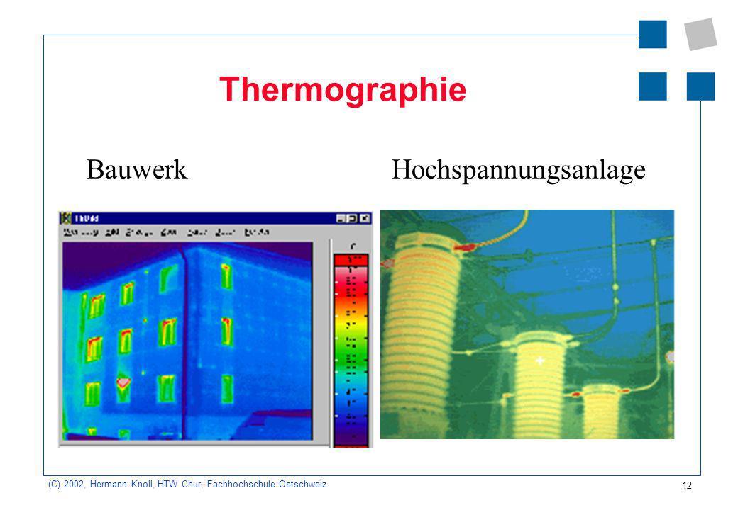 12 (C) 2002, Hermann Knoll, HTW Chur, Fachhochschule Ostschweiz Thermographie Bauwerk Hochspannungsanlage