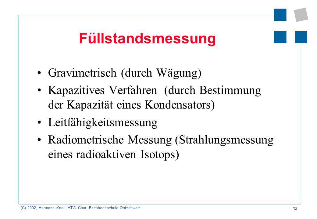 13 (C) 2002, Hermann Knoll, HTW Chur, Fachhochschule Ostschweiz Füllstandsmessung Gravimetrisch (durch Wägung) Kapazitives Verfahren (durch Bestimmung