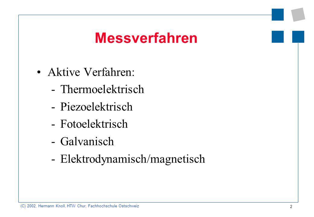 13 (C) 2002, Hermann Knoll, HTW Chur, Fachhochschule Ostschweiz Füllstandsmessung Gravimetrisch (durch Wägung) Kapazitives Verfahren (durch Bestimmung der Kapazität eines Kondensators) Leitfähigkeitsmessung Radiometrische Messung (Strahlungsmessung eines radioaktiven Isotops)