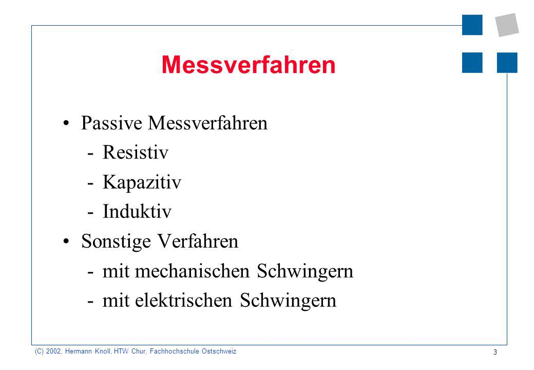 3 (C) 2002, Hermann Knoll, HTW Chur, Fachhochschule Ostschweiz Messverfahren Passive Messverfahren -Resistiv -Kapazitiv -Induktiv Sonstige Verfahren -