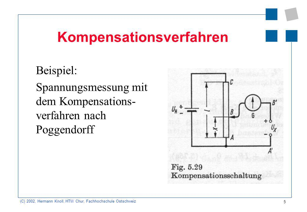 5 (C) 2002, Hermann Knoll, HTW Chur, Fachhochschule Ostschweiz Kompensationsverfahren Beispiel: Spannungsmessung mit dem Kompensations- verfahren nach