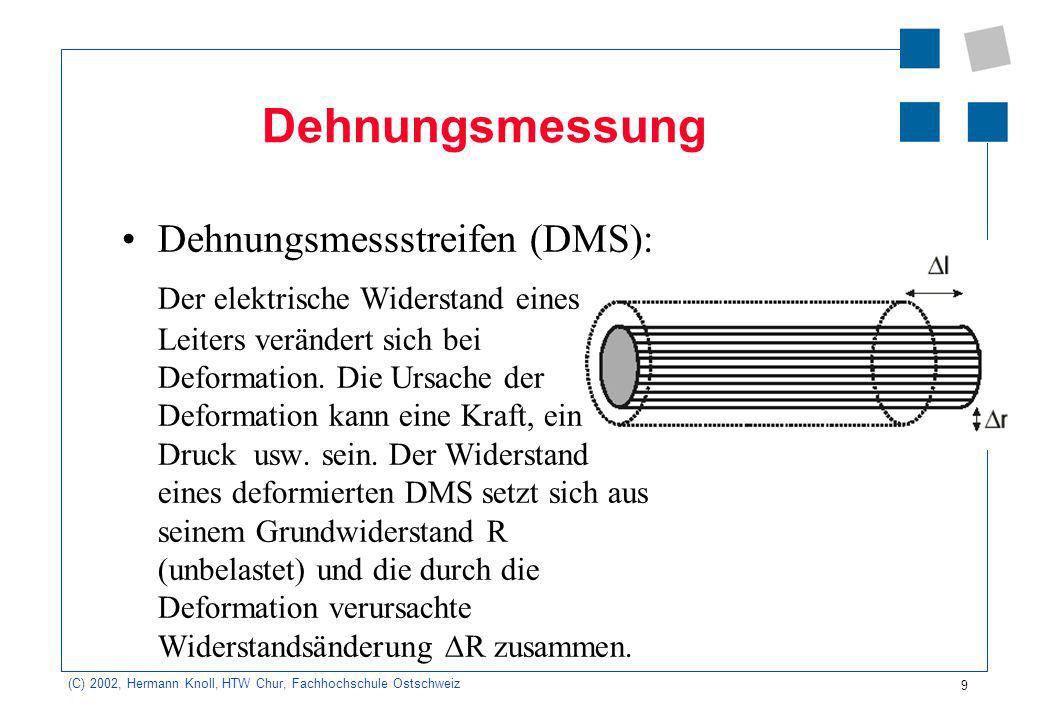 9 (C) 2002, Hermann Knoll, HTW Chur, Fachhochschule Ostschweiz Dehnungsmessung Dehnungsmessstreifen (DMS): Der elektrische Widerstand eines Leiters ve