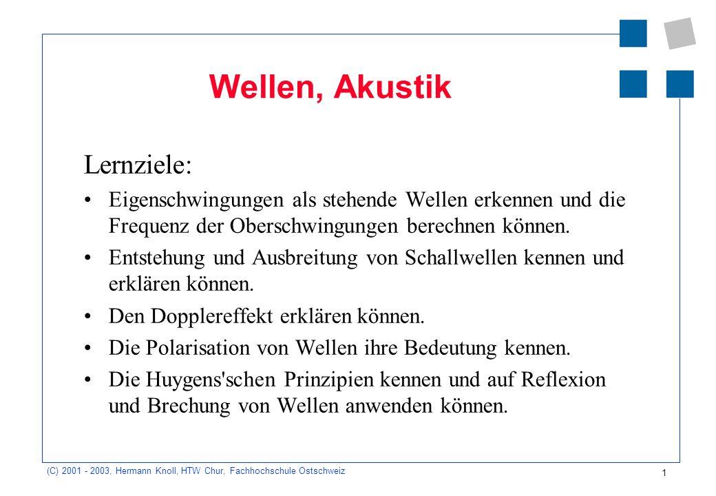 1 (C) 2001 - 2003, Hermann Knoll, HTW Chur, Fachhochschule Ostschweiz Wellen, Akustik Lernziele: Eigenschwingungen als stehende Wellen erkennen und die Frequenz der Oberschwingungen berechnen können.