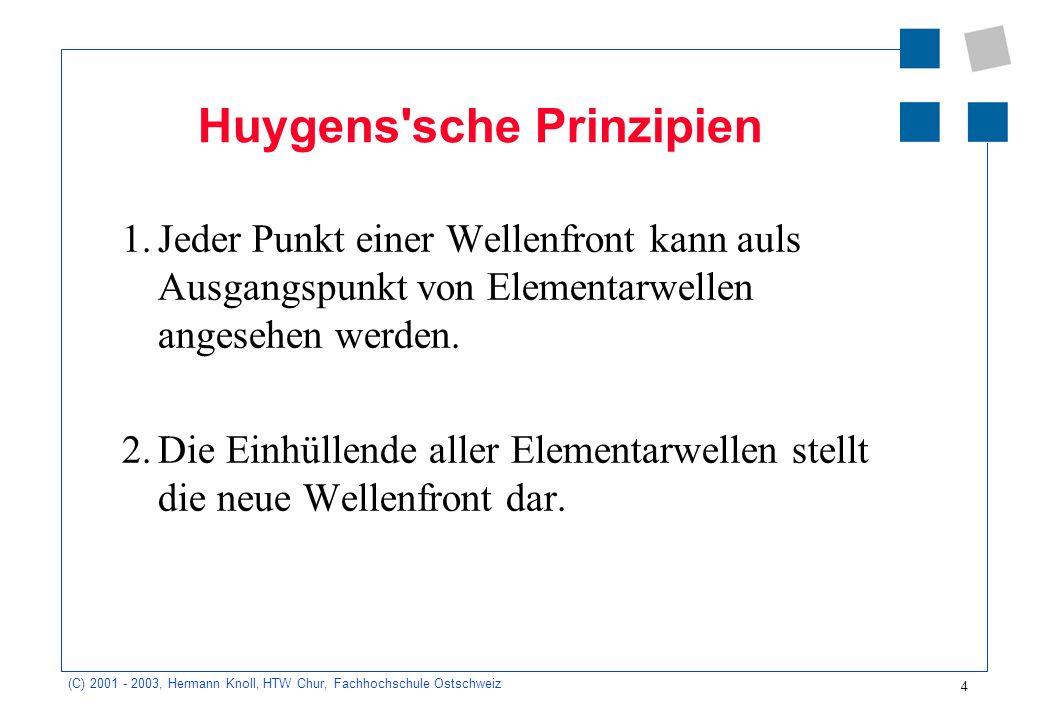4 (C) 2001 - 2003, Hermann Knoll, HTW Chur, Fachhochschule Ostschweiz Huygens sche Prinzipien 1.Jeder Punkt einer Wellenfront kann auls Ausgangspunkt von Elementarwellen angesehen werden.