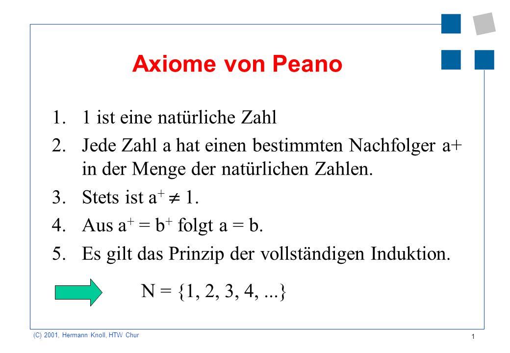 1 (C) 2001, Hermann Knoll, HTW Chur Axiome von Peano 1.1 ist eine natürliche Zahl 2.Jede Zahl a hat einen bestimmten Nachfolger a+ in der Menge der na