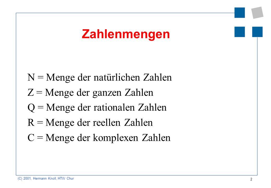 2 (C) 2001, Hermann Knoll, HTW Chur Zahlenmengen N = Menge der natürlichen Zahlen Z = Menge der ganzen Zahlen Q = Menge der rationalen Zahlen R = Meng