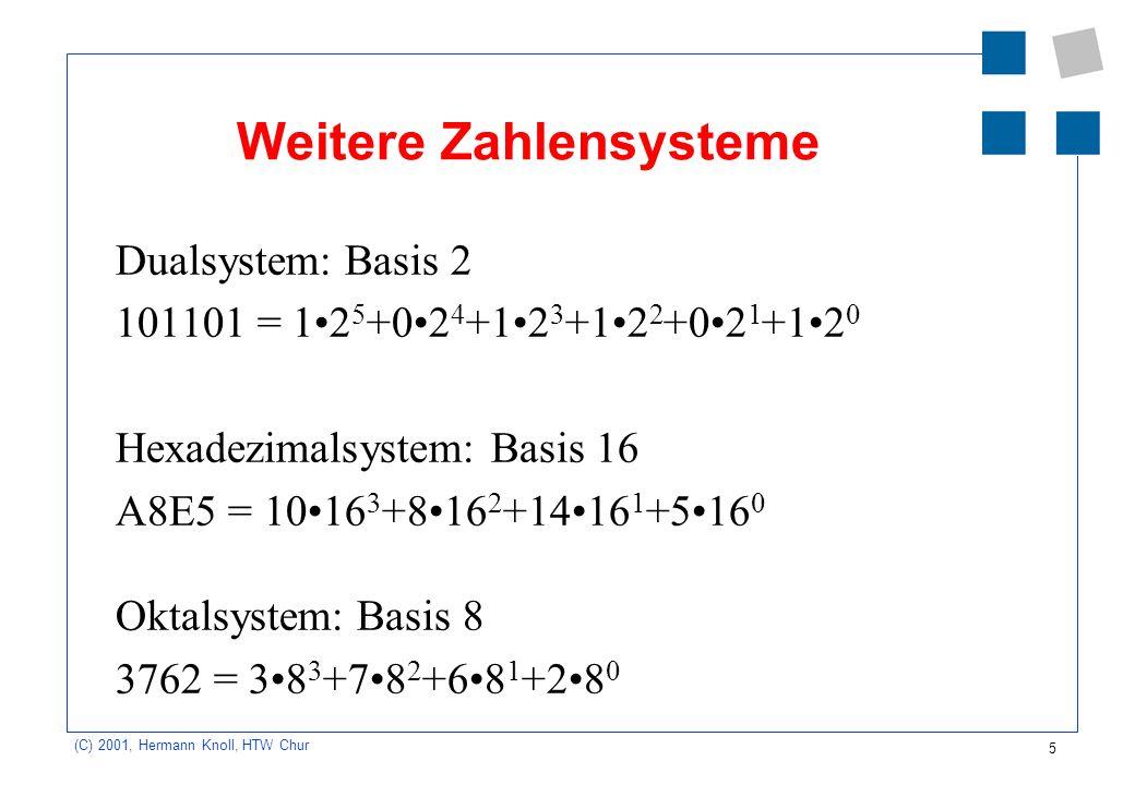 5 (C) 2001, Hermann Knoll, HTW Chur Weitere Zahlensysteme Dualsystem: Basis 2 101101 = 12 5 +02 4 +12 3 +12 2 +02 1 +12 0 Hexadezimalsystem: Basis 16
