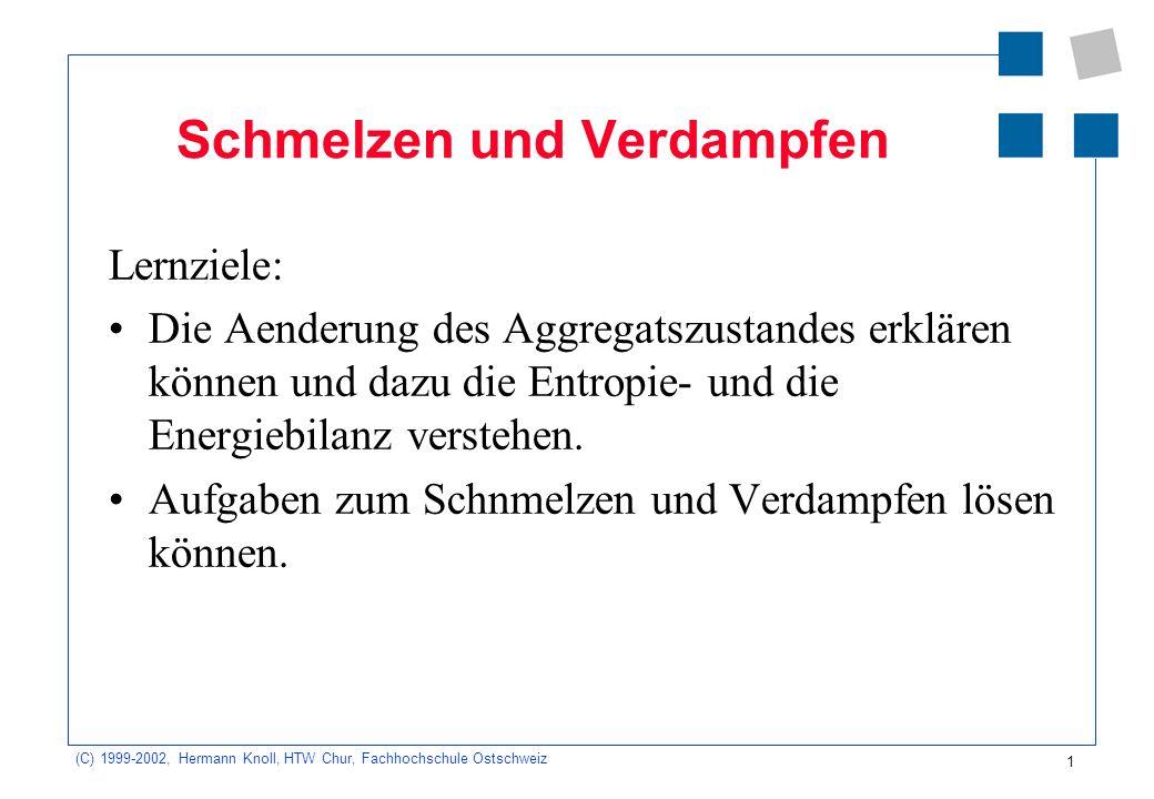 (C) 1999-2002, Hermann Knoll, HTW Chur, Fachhochschule Ostschweiz 1 Schmelzen und Verdampfen Lernziele: Die Aenderung des Aggregatszustandes erklären