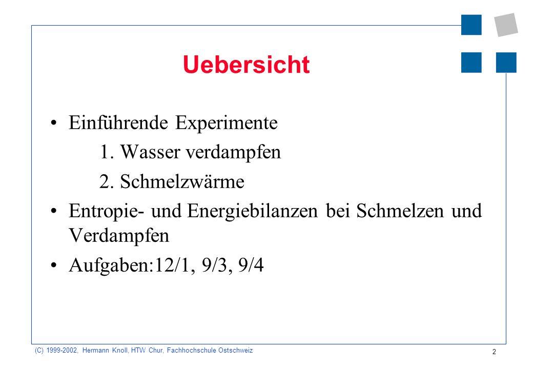 (C) 1999-2002, Hermann Knoll, HTW Chur, Fachhochschule Ostschweiz 2 Uebersicht Einführende Experimente 1. Wasser verdampfen 2. Schmelzwärme Entropie-