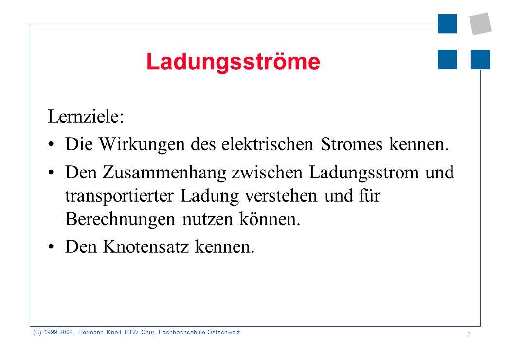 (C) 1999-2004, Hermann Knoll, HTW Chur, Fachhochschule Ostschweiz 1 Ladungsströme Lernziele: Die Wirkungen des elektrischen Stromes kennen. Den Zusamm