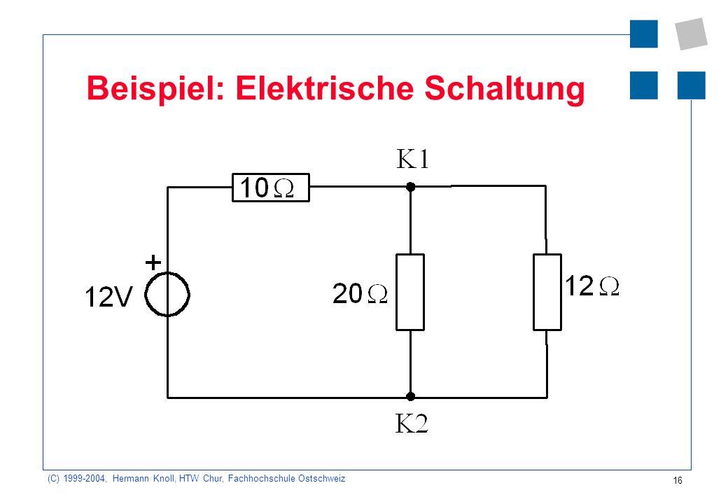 (C) 1999-2004, Hermann Knoll, HTW Chur, Fachhochschule Ostschweiz 16 Beispiel: Elektrische Schaltung
