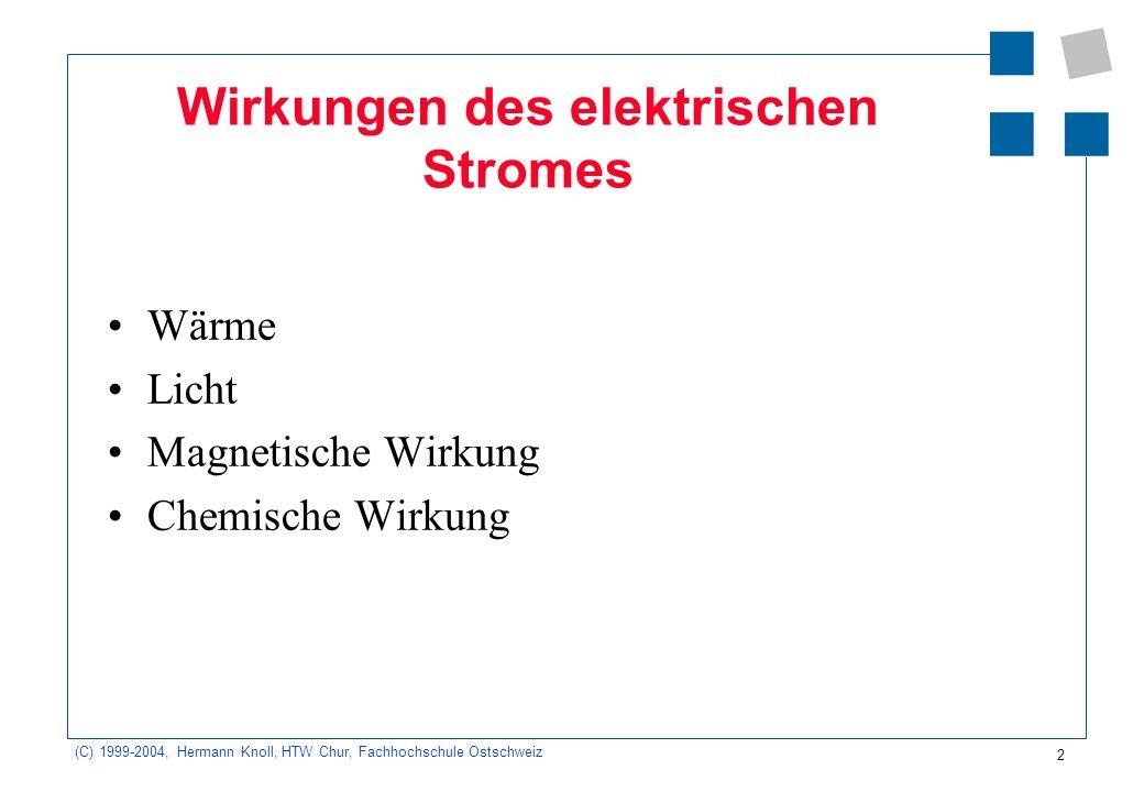 (C) 1999-2004, Hermann Knoll, HTW Chur, Fachhochschule Ostschweiz 2 Wirkungen des elektrischen Stromes Wärme Licht Magnetische Wirkung Chemische Wirku