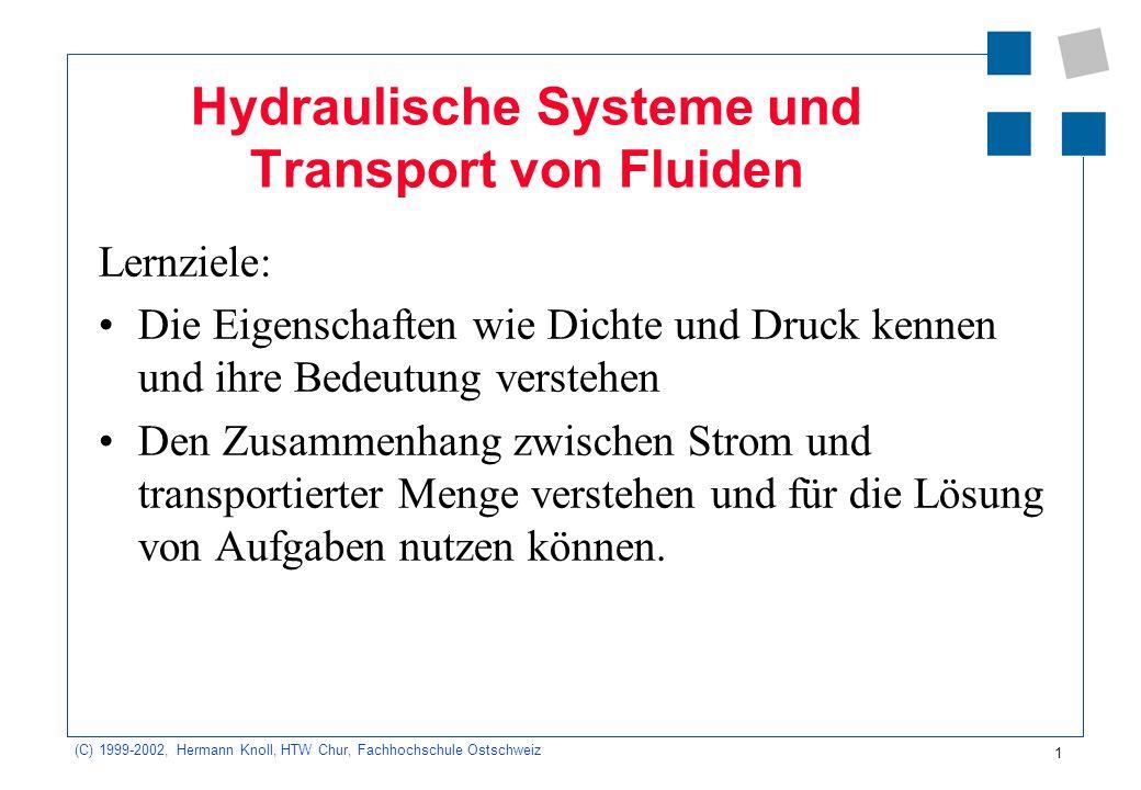 (C) 1999-2002, Hermann Knoll, HTW Chur, Fachhochschule Ostschweiz 1 Hydraulische Systeme und Transport von Fluiden Lernziele: Die Eigenschaften wie Di