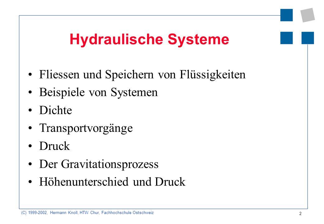 (C) 1999-2002, Hermann Knoll, HTW Chur, Fachhochschule Ostschweiz 2 Hydraulische Systeme Fliessen und Speichern von Flüssigkeiten Beispiele von System