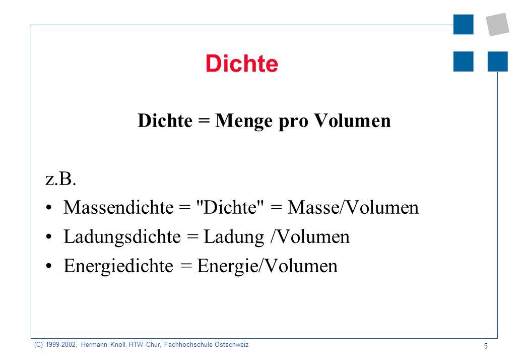 (C) 1999-2002, Hermann Knoll, HTW Chur, Fachhochschule Ostschweiz 5 Dichte Dichte = Menge pro Volumen z.B. Massendichte =