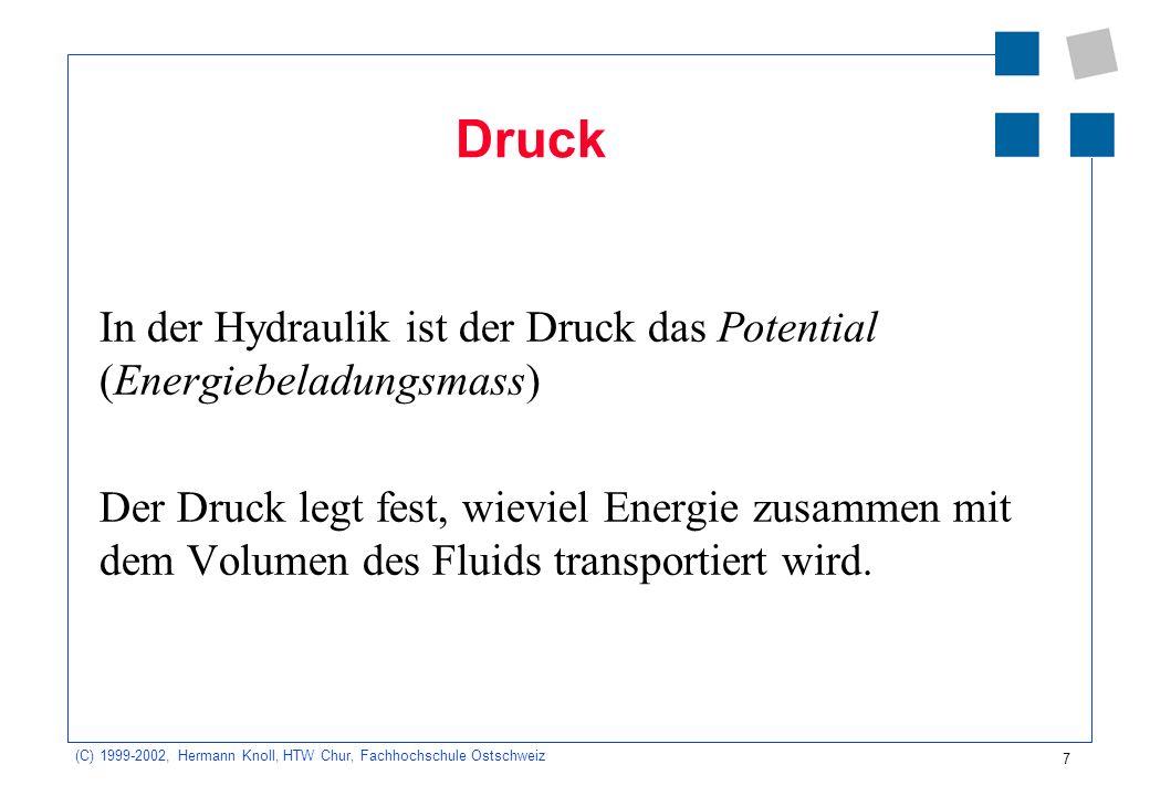 (C) 1999-2002, Hermann Knoll, HTW Chur, Fachhochschule Ostschweiz 7 Druck In der Hydraulik ist der Druck das Potential (Energiebeladungsmass) Der Druc