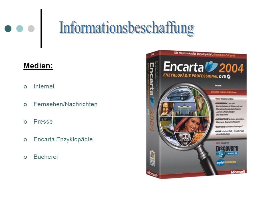 Medien: Internet Fernsehen/Nachrichten Presse Encarta Enzyklopädie Bücherei
