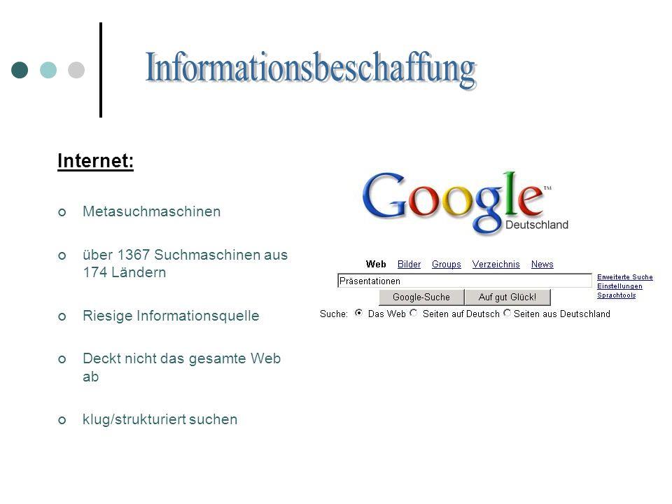 Internet: Metasuchmaschinen über 1367 Suchmaschinen aus 174 Ländern Riesige Informationsquelle Deckt nicht das gesamte Web ab klug/strukturiert suchen