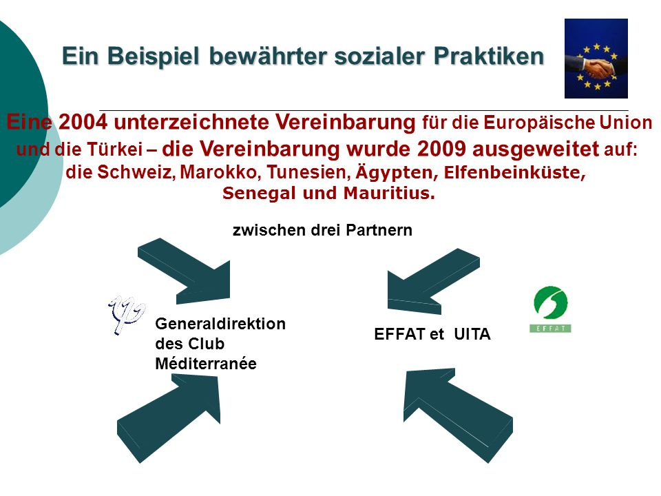 Ein Beispiel bewährter sozialer Praktiken zwischen drei Partnern Generaldirektion des Club Méditerranée EFFAT et UITA Eine 2004 unterzeichnete Vereinbarung für die Europäische Union und die Türkei – die Vereinbarung wurde 2009 ausgeweitet auf: die Schweiz, Marokko, Tunesien, Ägypten, Elfenbeinküste, Senegal und Mauritius.