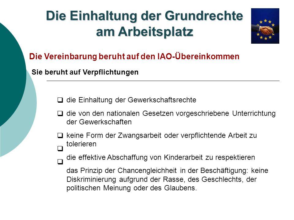 Die Einhaltung der Grundrechte am Arbeitsplatz Die Vereinbarung beruht auf den IAO-Übereinkommen die Einhaltung der Gewerkschaftsrechte die von den na