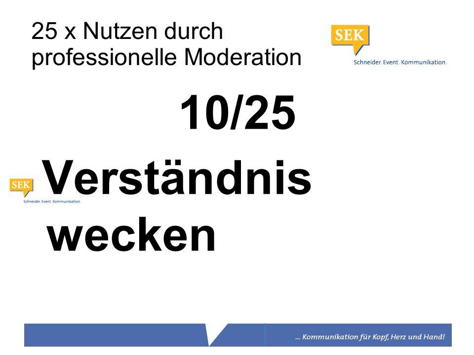 10/25 Verständnis wecken 25 x Nutzen durch professionelle Moderation