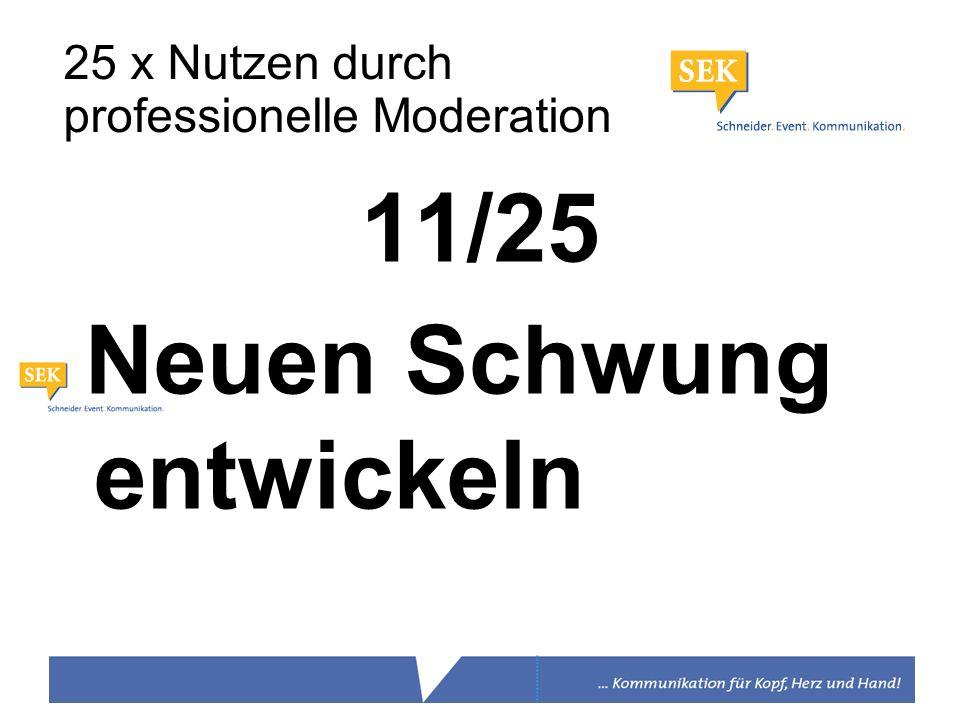 11/25 Neuen Schwung entwickeln 25 x Nutzen durch professionelle Moderation