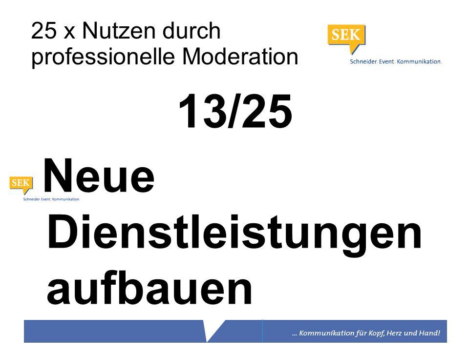 13/25 Neue Dienstleistungen aufbauen 25 x Nutzen durch professionelle Moderation