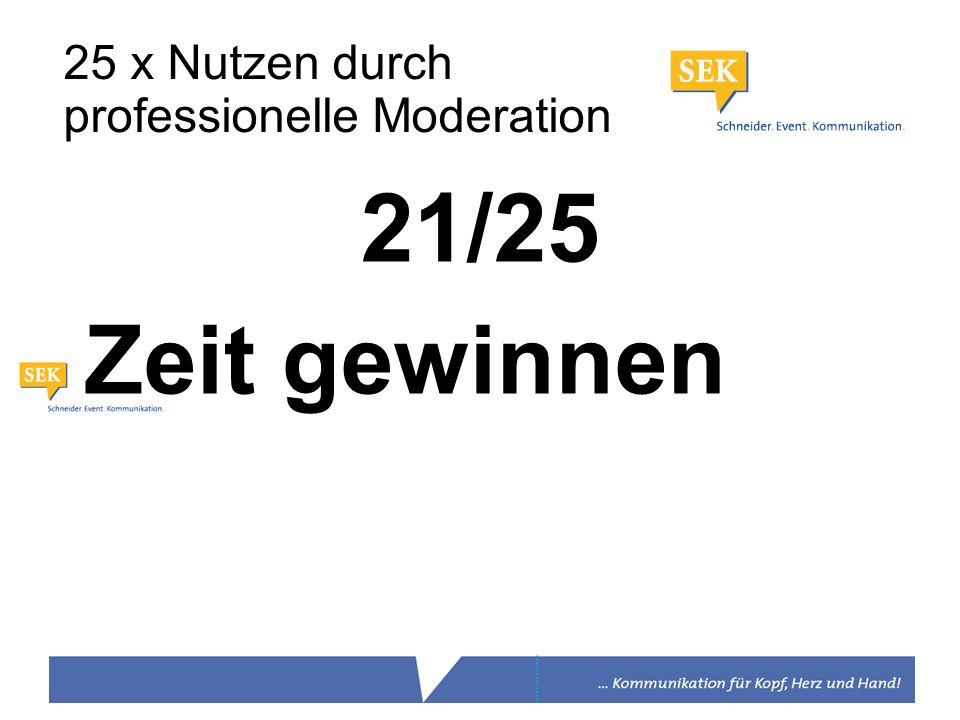 21/25 Zeit gewinnen 25 x Nutzen durch professionelle Moderation