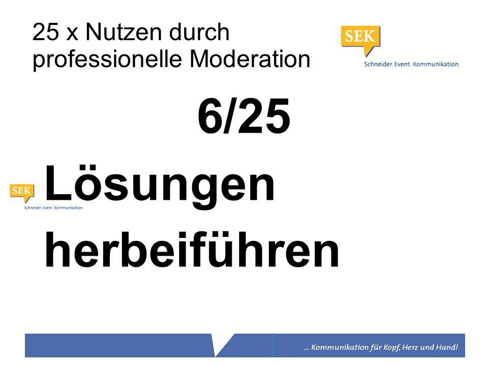 6/25 Lösungen herbeiführen 25 x Nutzen durch professionelle Moderation