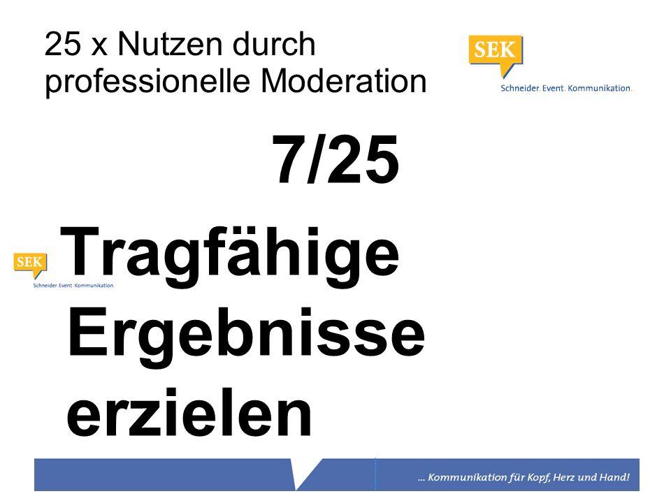 7/25 Tragfähige Ergebnisse erzielen 25 x Nutzen durch professionelle Moderation