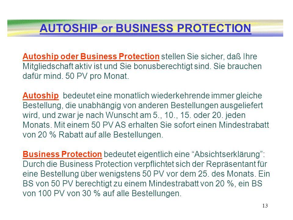 13 Autoship oder Business Protection stellen Sie sicher, daß Ihre Mitgliedschaft aktiv ist und Sie bonusberechtigt sind. Sie brauchen dafür mind. 50 P