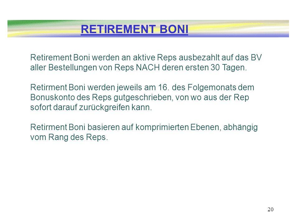 20 Retirement Boni werden an aktive Reps ausbezahlt auf das BV aller Bestellungen von Reps NACH deren ersten 30 Tagen. Retirment Boni werden jeweils a