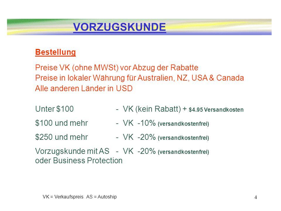 4 Bestellung Preise VK (ohne MWSt) vor Abzug der Rabatte Preise in lokaler Währung für Australien, NZ, USA & Canada Alle anderen Länder in USD Unter $