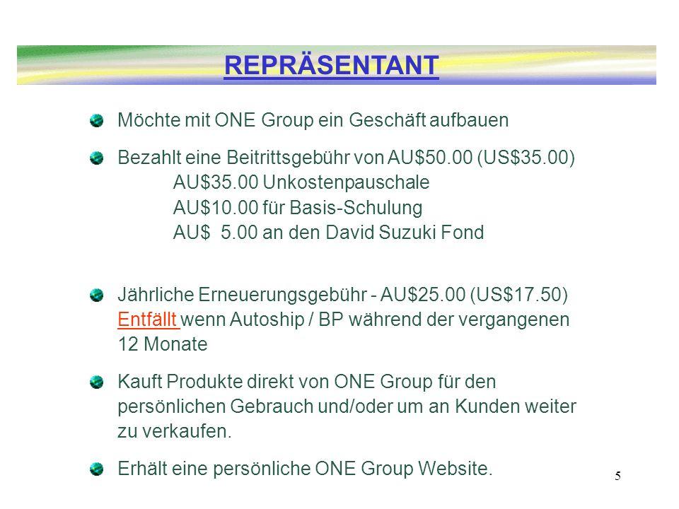 5 Möchte mit ONE Group ein Geschäft aufbauen Bezahlt eine Beitrittsgebühr von AU$50.00 (US$35.00) AU$35.00 Unkostenpauschale AU$10.00 für Basis-Schulu