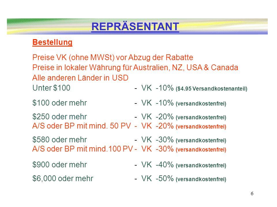 6 Bestellung Preise VK (ohne MWSt) vor Abzug der Rabatte Preise in lokaler Währung für Australien, NZ, USA & Canada Alle anderen Länder in USD Unter $