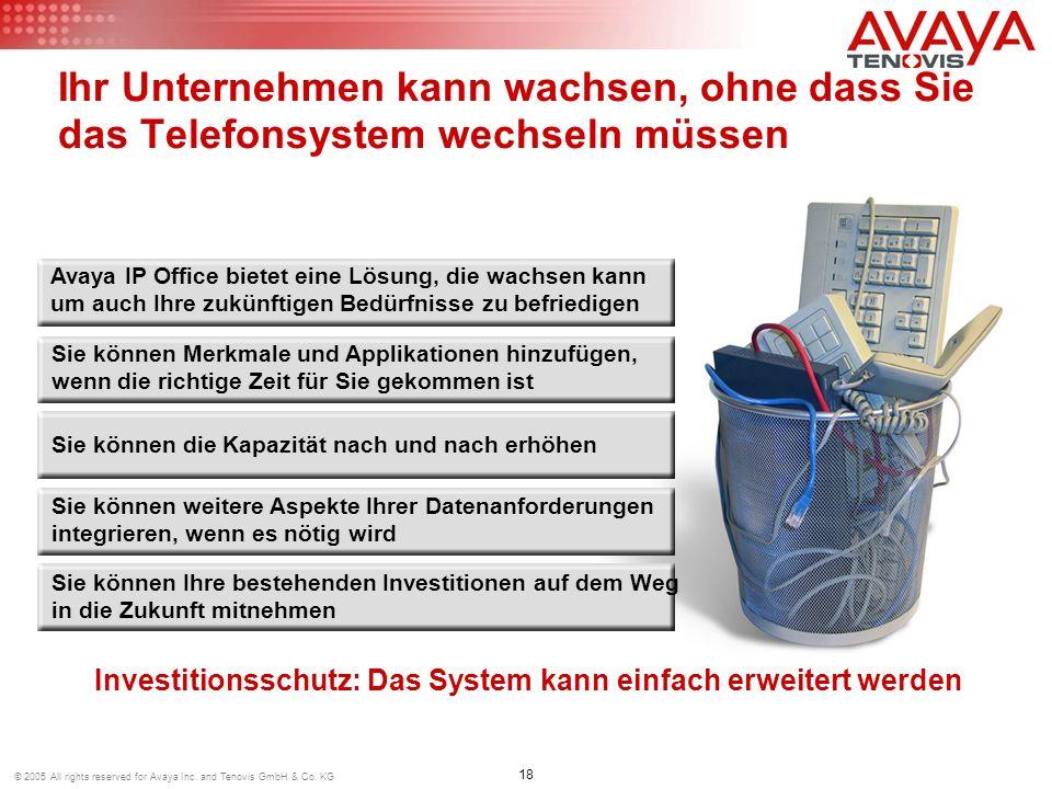 18 © 2005 All rights reserved for Avaya Inc. and Tenovis GmbH & Co. KG Ihr Unternehmen kann wachsen, ohne dass Sie das Telefonsystem wechseln müssen I