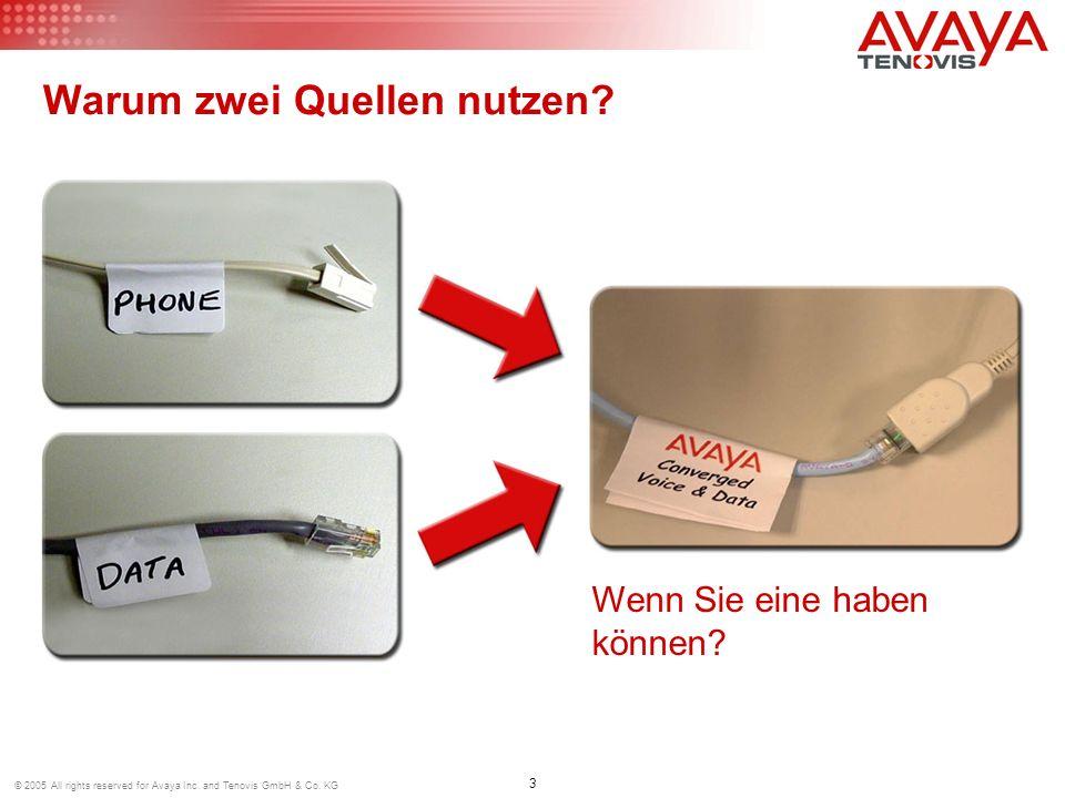 3 © 2005 All rights reserved for Avaya Inc. and Tenovis GmbH & Co. KG Warum zwei Quellen nutzen? Wenn Sie eine haben können?