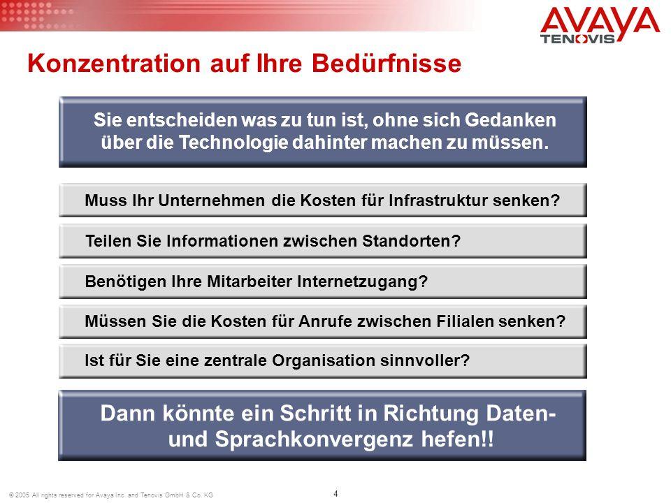 4 © 2005 All rights reserved for Avaya Inc. and Tenovis GmbH & Co. KG Konzentration auf Ihre Bedürfnisse Muss Ihr Unternehmen die Kosten für Infrastru
