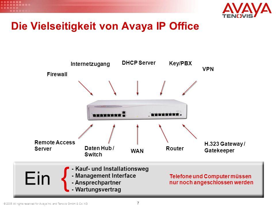 7 © 2005 All rights reserved for Avaya Inc. and Tenovis GmbH & Co. KG Die Vielseitigkeit von Avaya IP Office Telefone und Computer müssen nur noch ang