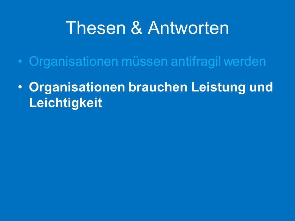 Thesen & Antworten Organisationen müssen antifragil werden Organisationen brauchen Leistung und Leichtigkeit