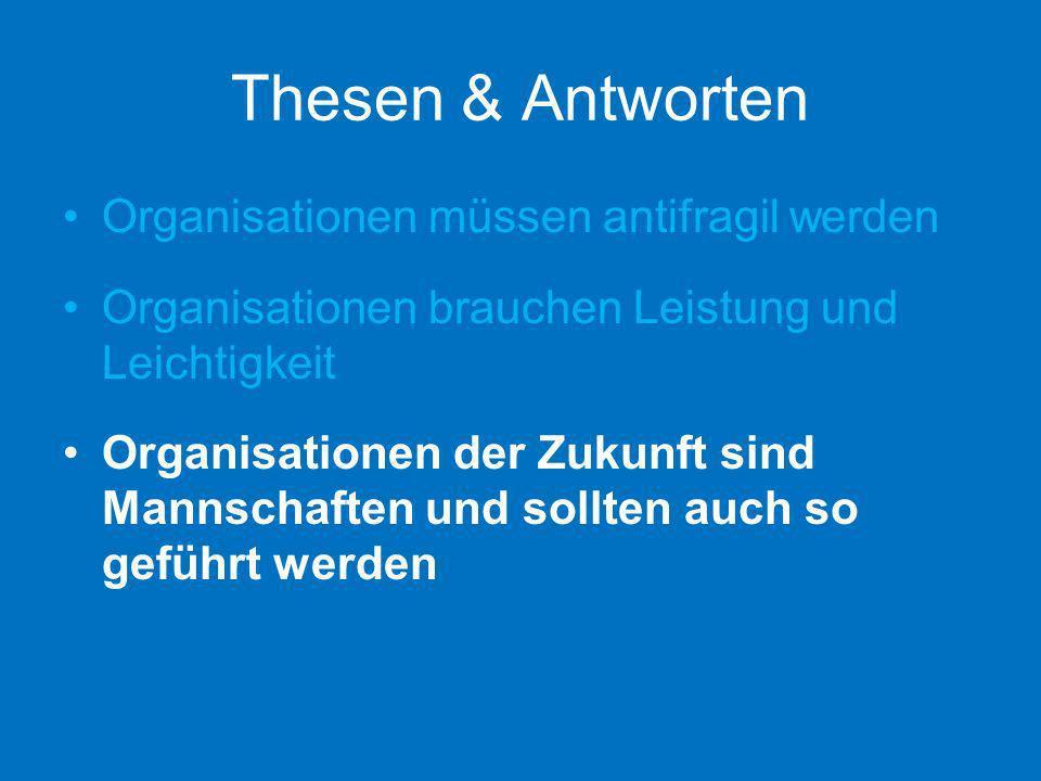 Thesen & Antworten Organisationen müssen antifragil werden Organisationen brauchen Leistung und Leichtigkeit Organisationen der Zukunft sind Mannschaf