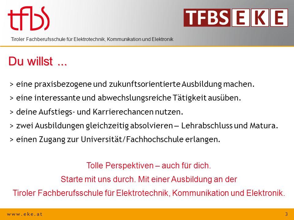 www.eke.at 4 Tiroler Fachberufsschule für Elektrotechnik, Kommunikation und Elektronik Kontakt Anschrift:Lohbachufer 6, 6020 Innsbruck Telefon: 0 512 / 28 45 34 Fax:0 512 / 28 45 34 - 4 Email:direktion@tfbs-elektronik.tsn.atdirektion@tfbs-elektronik.tsn.at Internet:www.eke.atwww.eke.at Schulleiter:BD RR Ing.