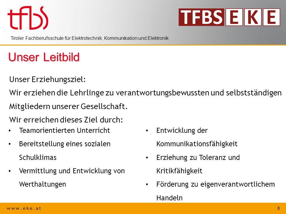 www.eke.at 8 Tiroler Fachberufsschule für Elektrotechnik, Kommunikation und Elektronik Unser Leitbild Unser Erziehungsziel: Wir erziehen die Lehrlinge